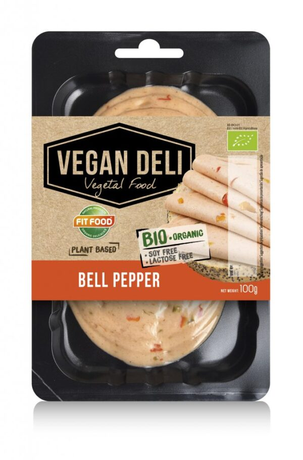 Organic meat slices with bell pepper