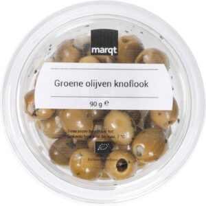 Green Olives marinated in Garlic (90g) without Stone - Marqt